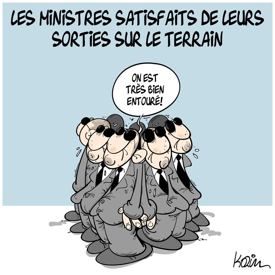 dessin d'actualité humoristique sur les sorties des ministres sur le terrain