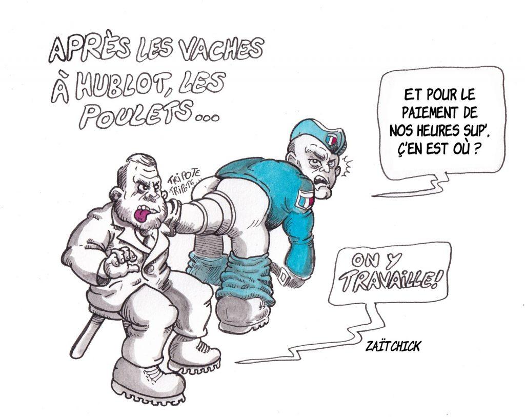 dessin d'actualité humoristique sur les heures supplémentaires impayés des forces de l'ordre et les vaches à hublots