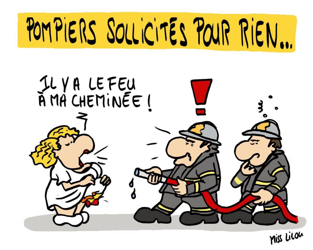 dessin de Miss Lilou sur les gens qui appellent les pompiers pour un rien