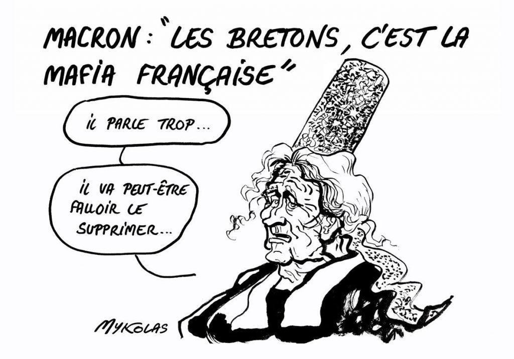 dessin d'actualité humoristique sur la petite phrase d'Emmanuel Macron sur les bretons