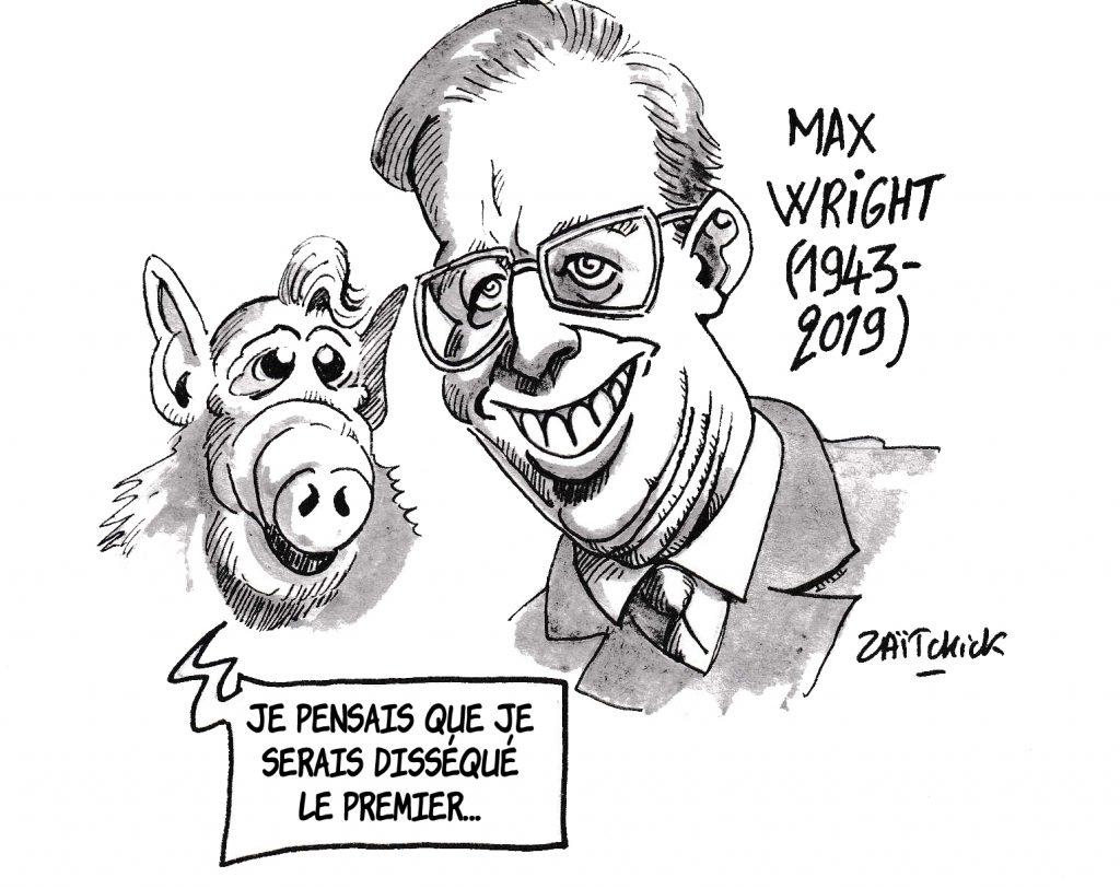 dessin de Zaïtchick sur la disparition de Max Wright, acteur qui jouait Willie Tanner, le père adoptif de l'extraterrestre Alf