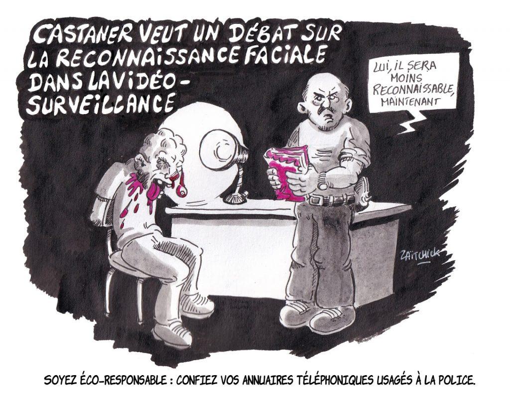 dessin d'actualité humoristique sur le débat concernant la reconnaissance faciale dans la vidéosurveillance