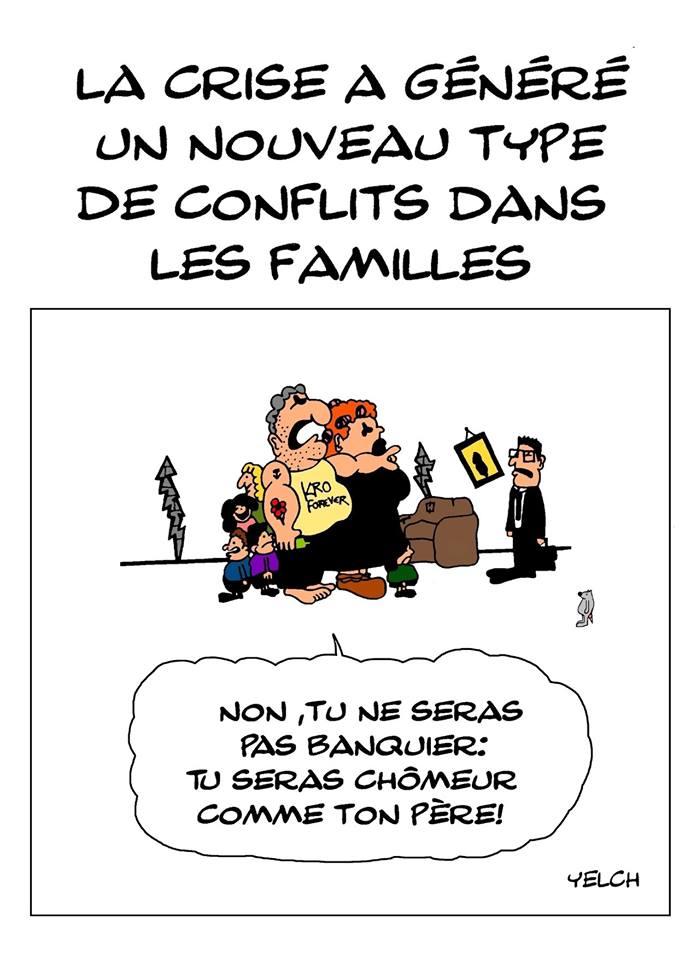 dessin de Yelch sur les nouveaux types de conflits dans les familles