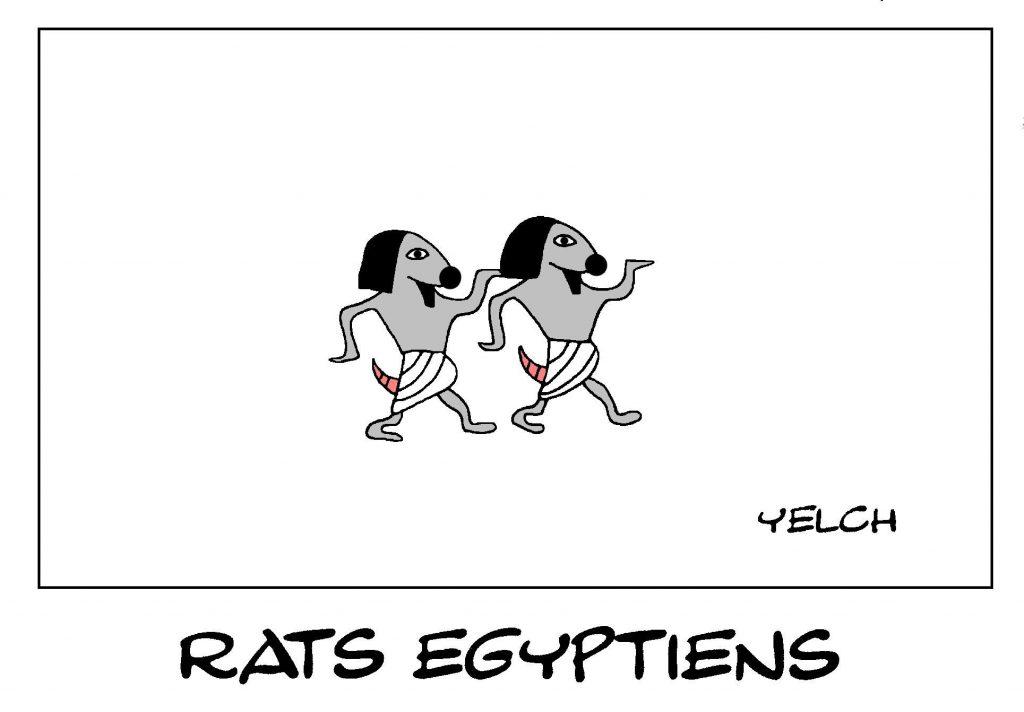 dessin de Yelch sur les rats de l'Égypte Antique