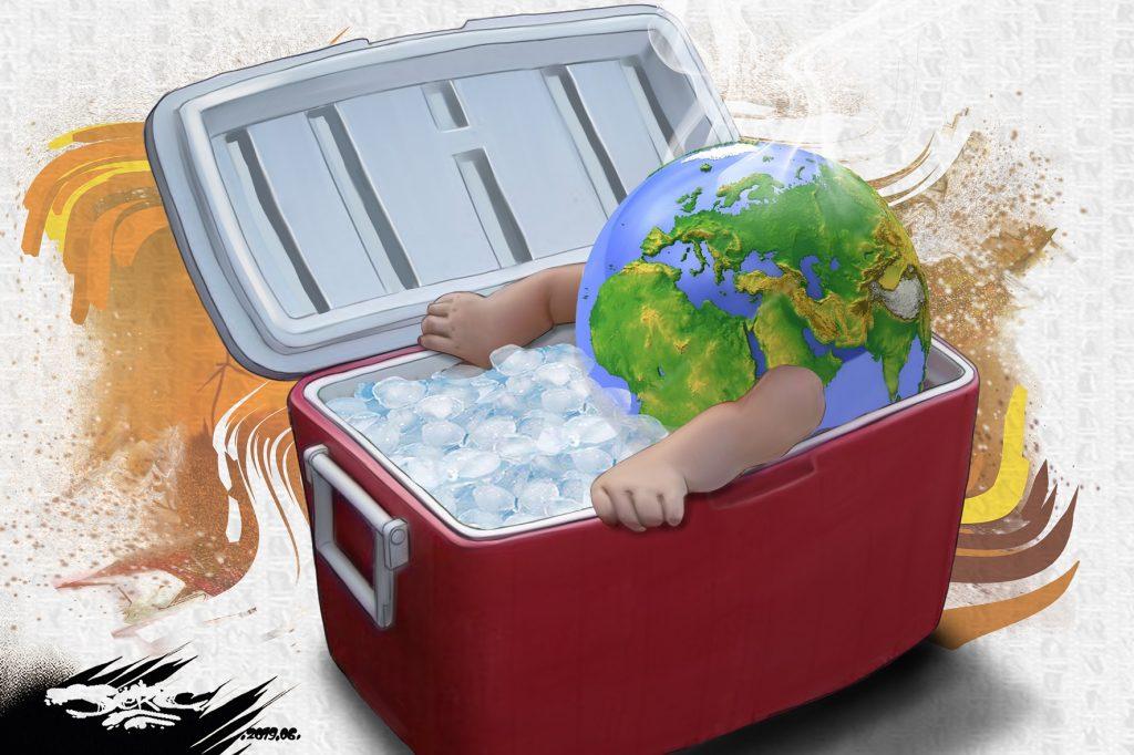 dessin d'actualité humoristique sur la canicule et le réchauffement climatique