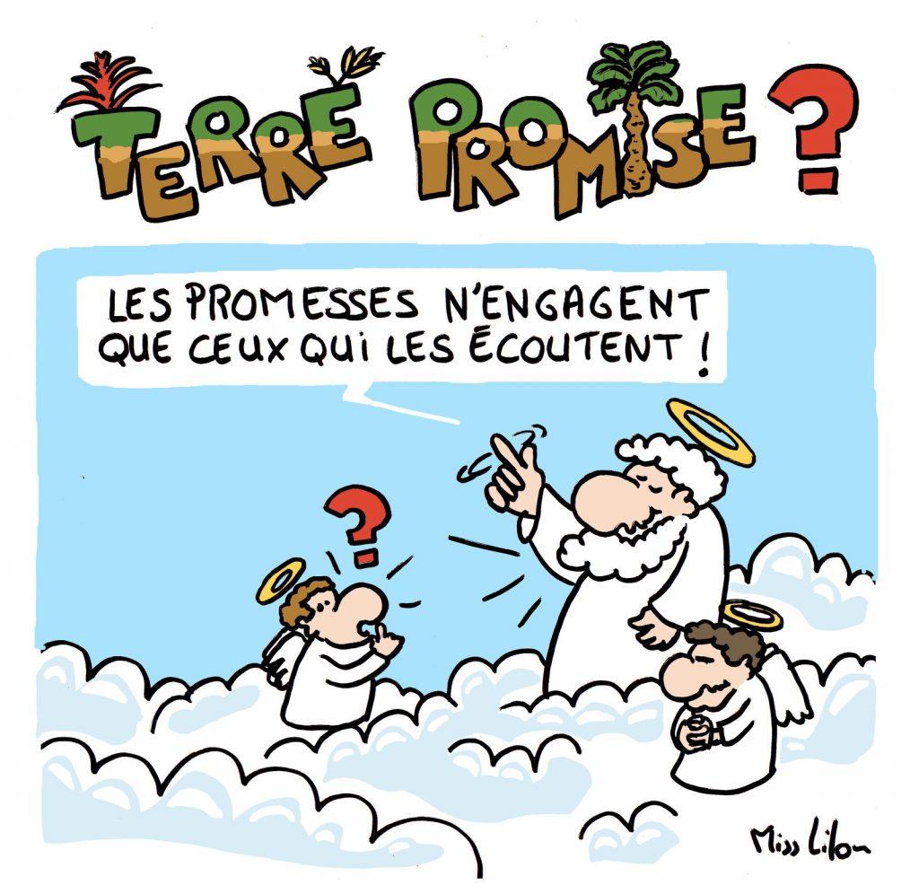 dessin de Miss Lilou sur les religions et la terre promise