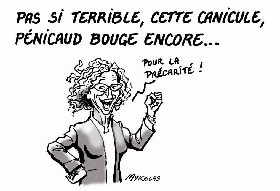 dessin d'actualité humoristique sur la canicule, la précarité et Muriel Pénicaud