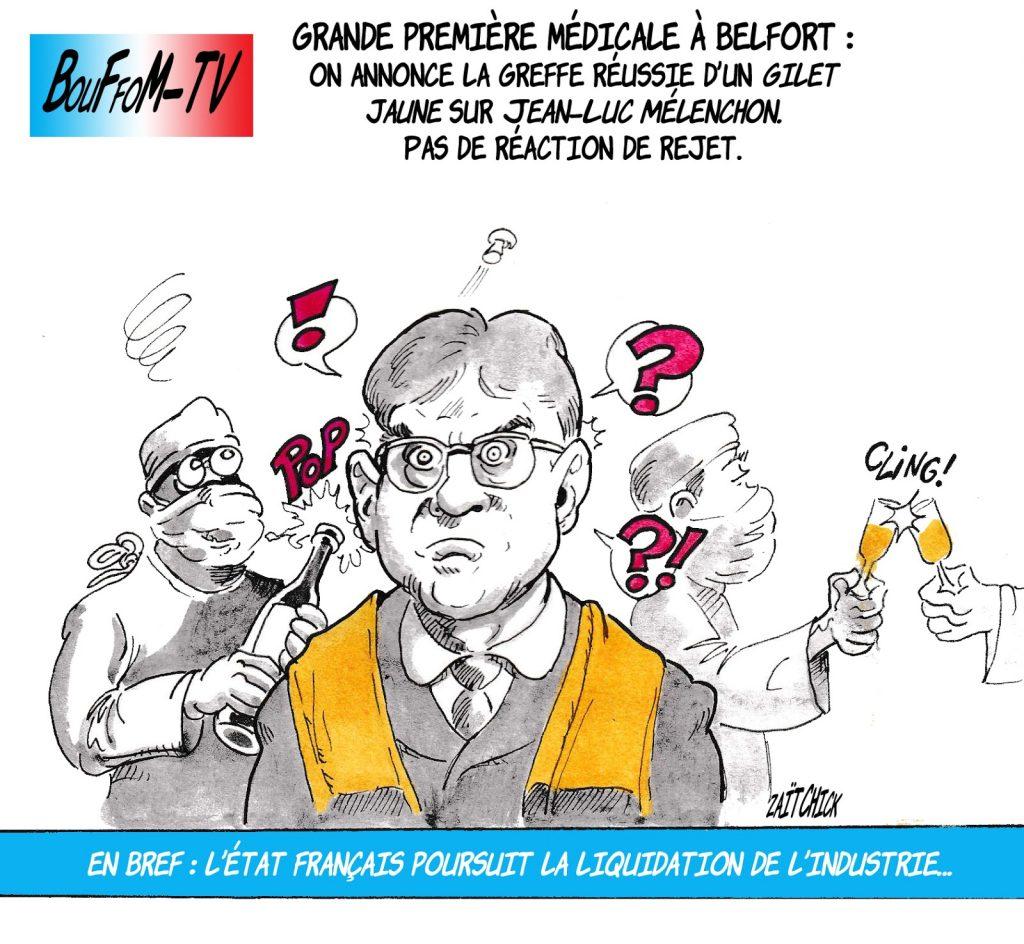 dessin de Zaïtchick sur le déplacement de Jean-Luc Mélenchon à Belfort