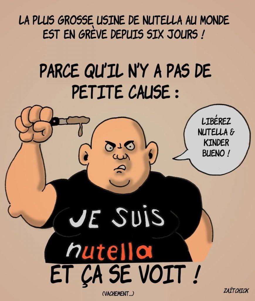 dessin humoristique sur la grève de la plus grosse usine de Nutella au monde