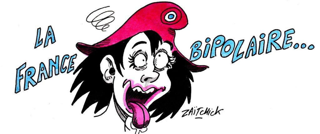 dessin d'actualité humoristique sur la bipolarité de la vie politique française