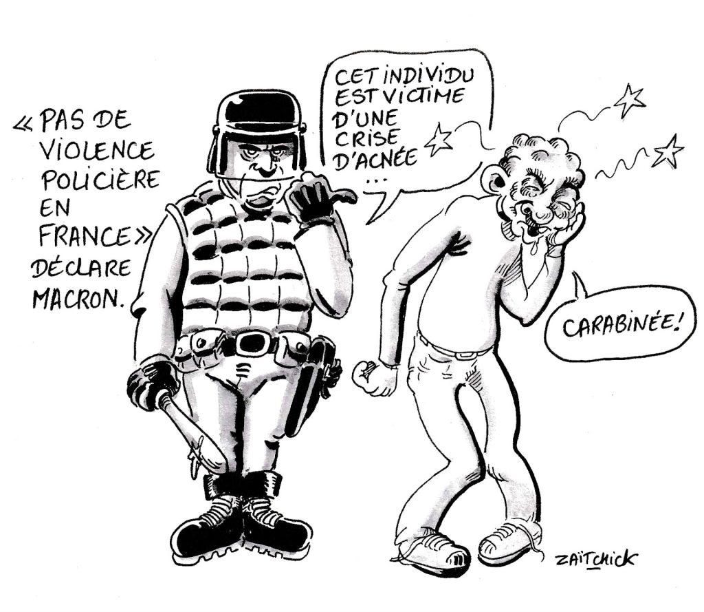 dessin humoristique sur l'absence de violence policière en France… Selon Emmanuel Macron