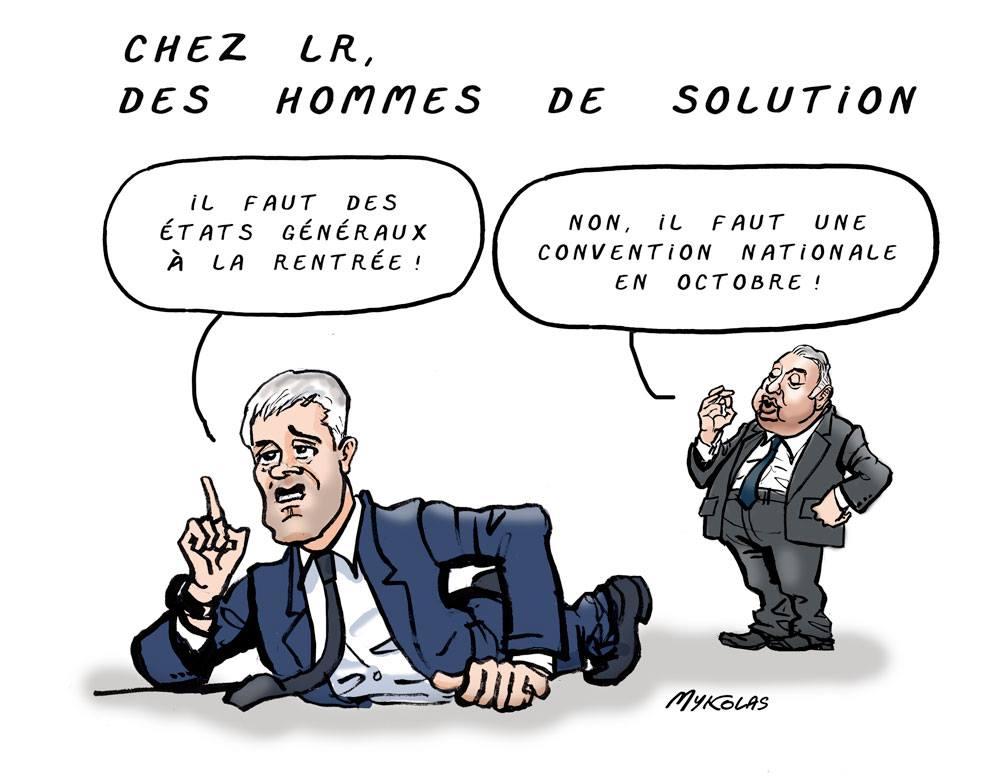 dessin d'actualité humoristique sur les solutions proposées par Laurent Wauquiez et Gérard Larcher à la crise que traverse Les Républicains