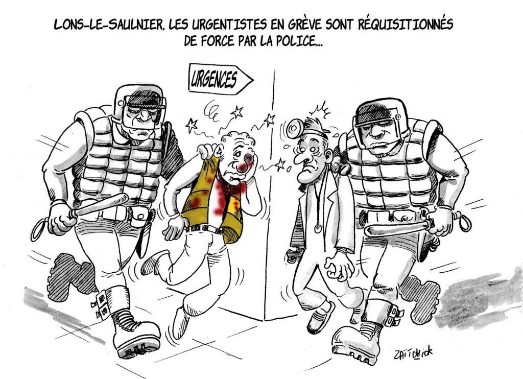 dessin humoristique sur la réquisition de force des urgentistes à Lons-le-Saunier