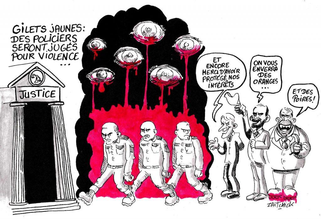 dessin humoristique sur le jugement pour violence de policiers