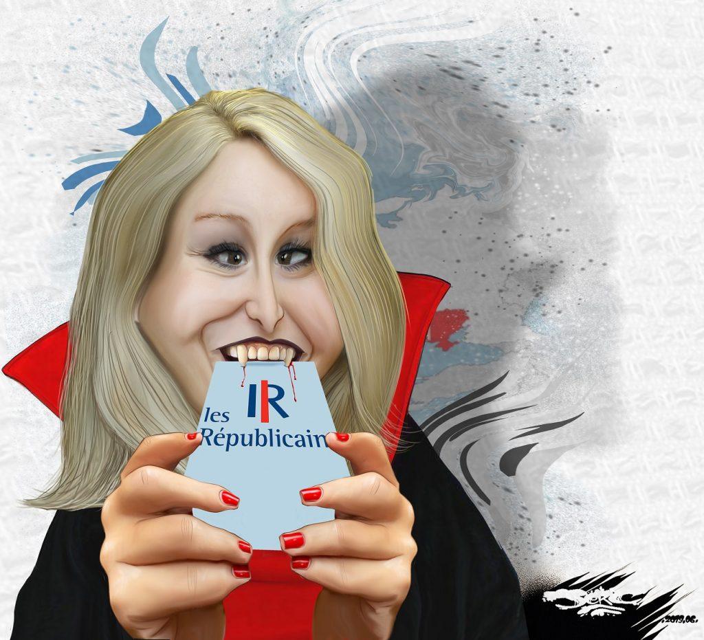 dessin d'actualité humoristique sur l'appel à une grande coalition des droites de Marion Maréchal-Le Pen