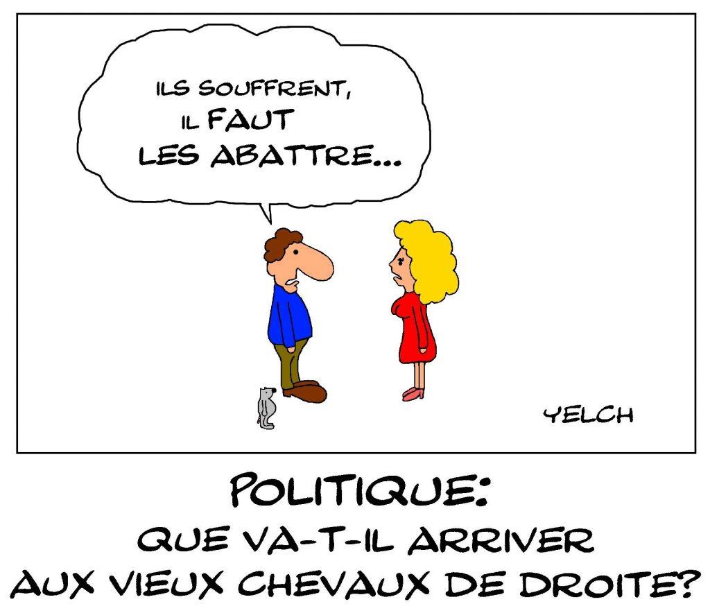 dessin de Yelch sur les hommes politiques des vieux partis de droite