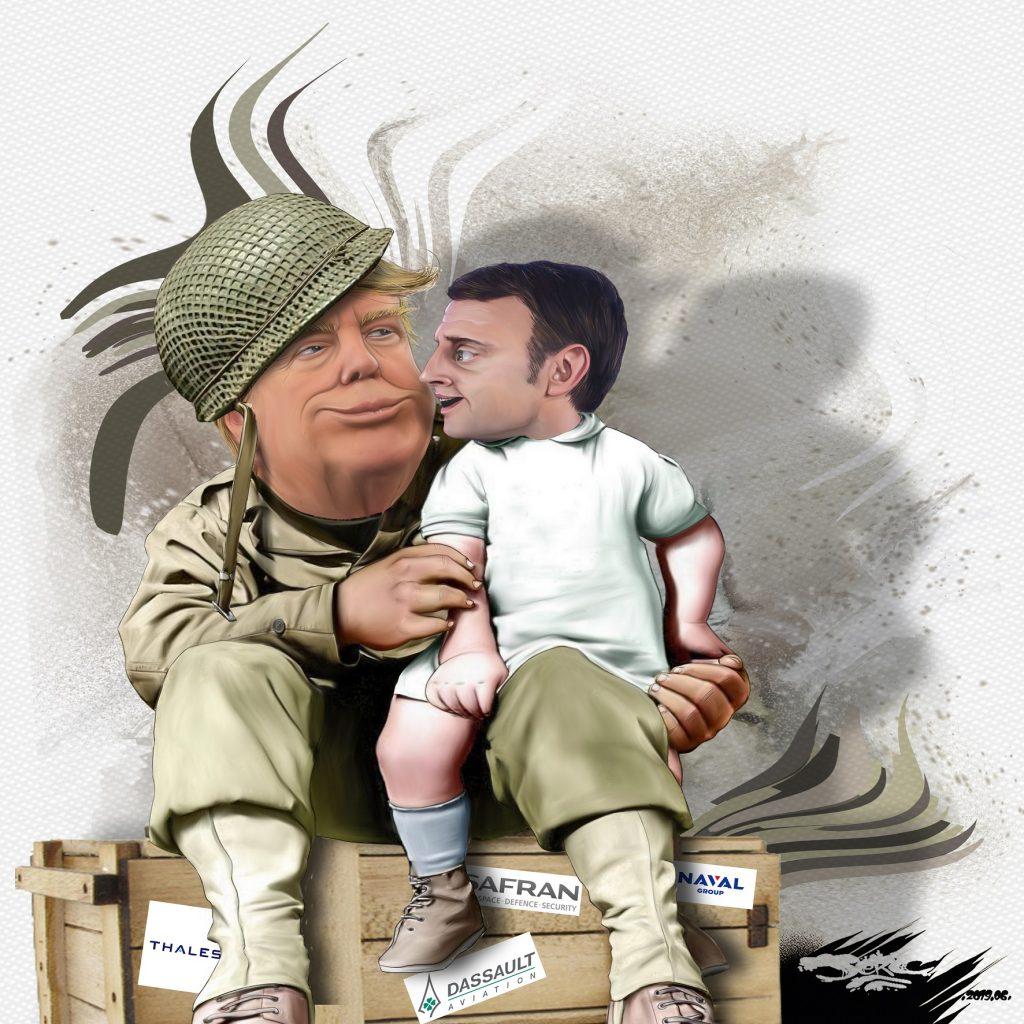 dessin d'actualité humoristique sur la commémoration du débarquement en Normandie sur fond de ventes d'armes