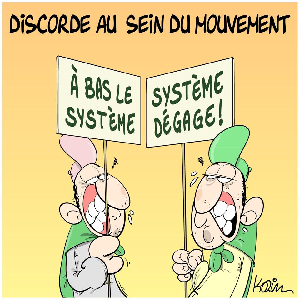 dessin d'actualité humoristique sur le mouvement populaire en Algérie