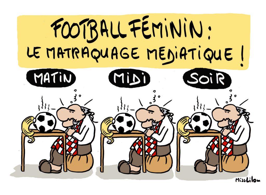 dessin de Miss Lilou sur le matraquage médiatique autour de la coupe du monde de football féminin