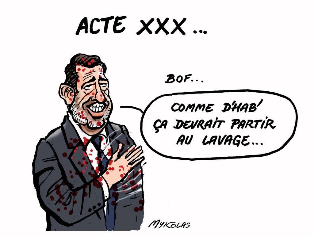 dessin d'actualité humoristique sur Christophe Castaner et l'acte XXX du mouvement des gilets jaunes