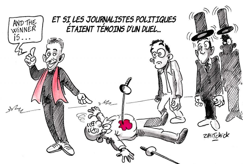 dessin d'actualité humoristique sur les journalistes politiques