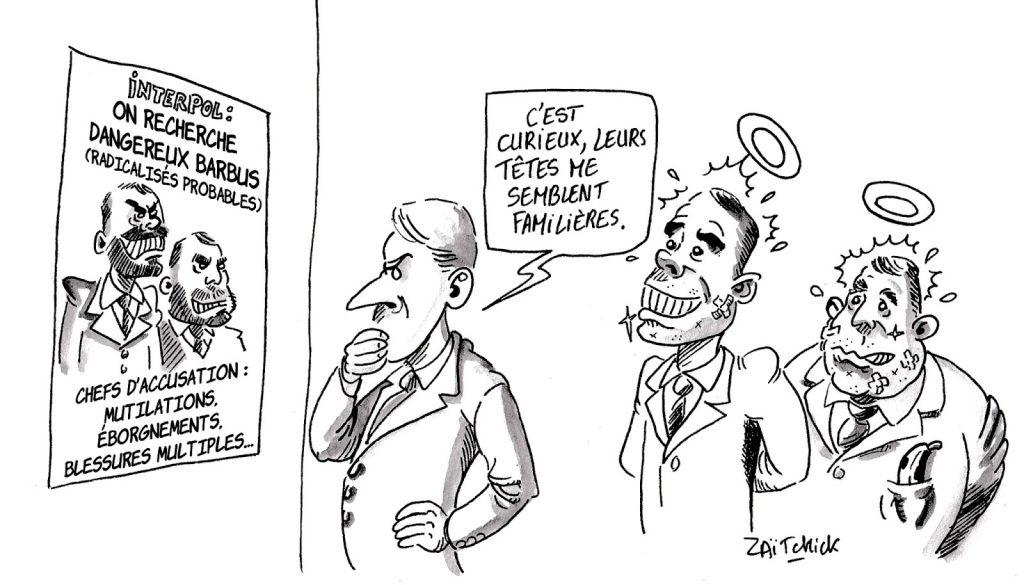 dessin d'actualité humoristique sur les violences policières et leurs conséquences politiques