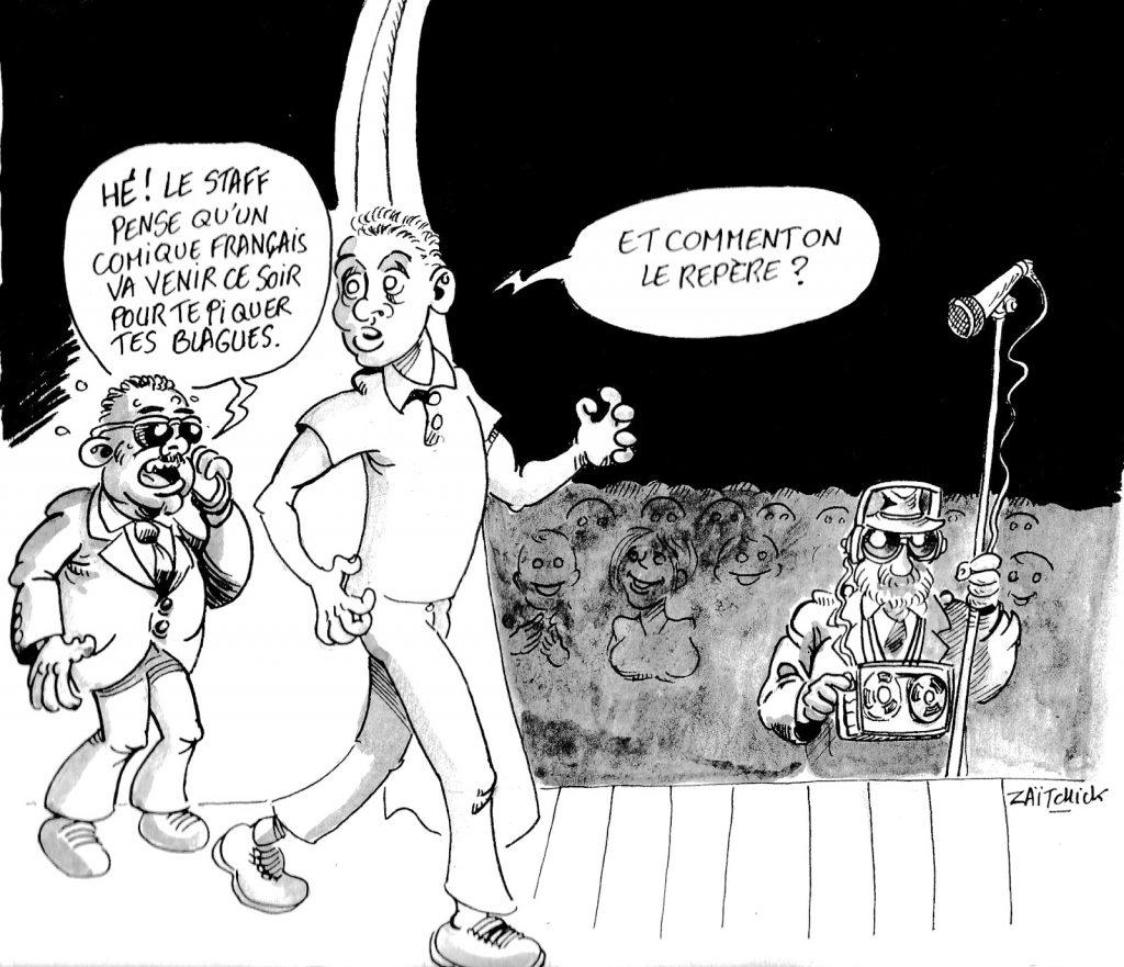 dessin d'actualité humoristique sur le plagiat dans le milieu des artistes comiques