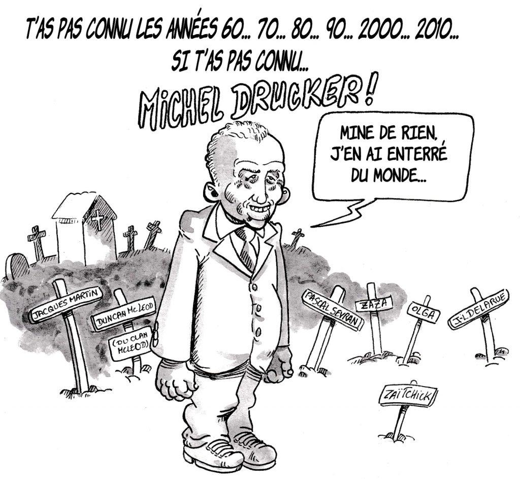 dessin d'actualité humoristique sur les années 70 et Michel Drucker