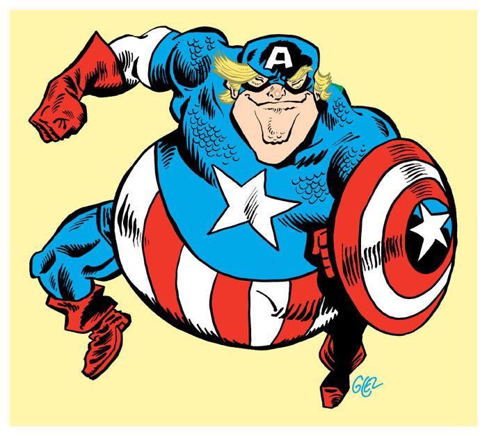 dessin humoristique sur Donald Trump et Captain America