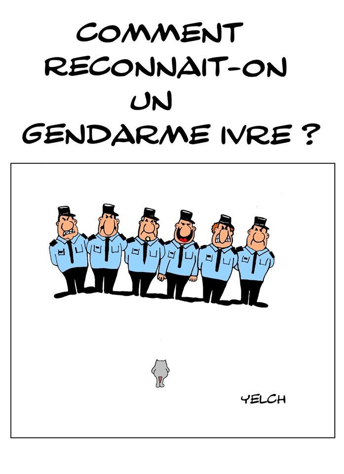 dessin de Yelch sur les gendarmes alcooliques