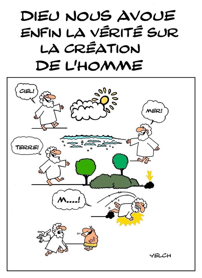 dessin de Yelch sur la création de l'homme par Dieu