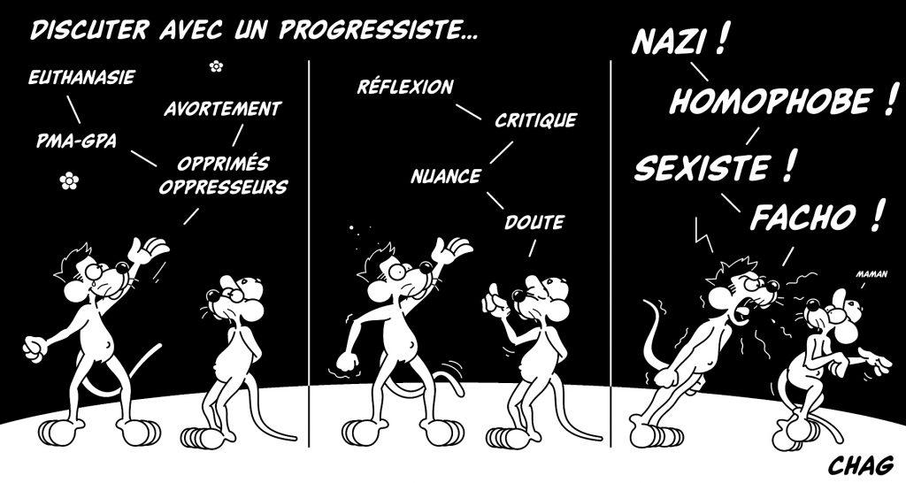 dessin d'humour de Chag sur la discussion avec les progressistes