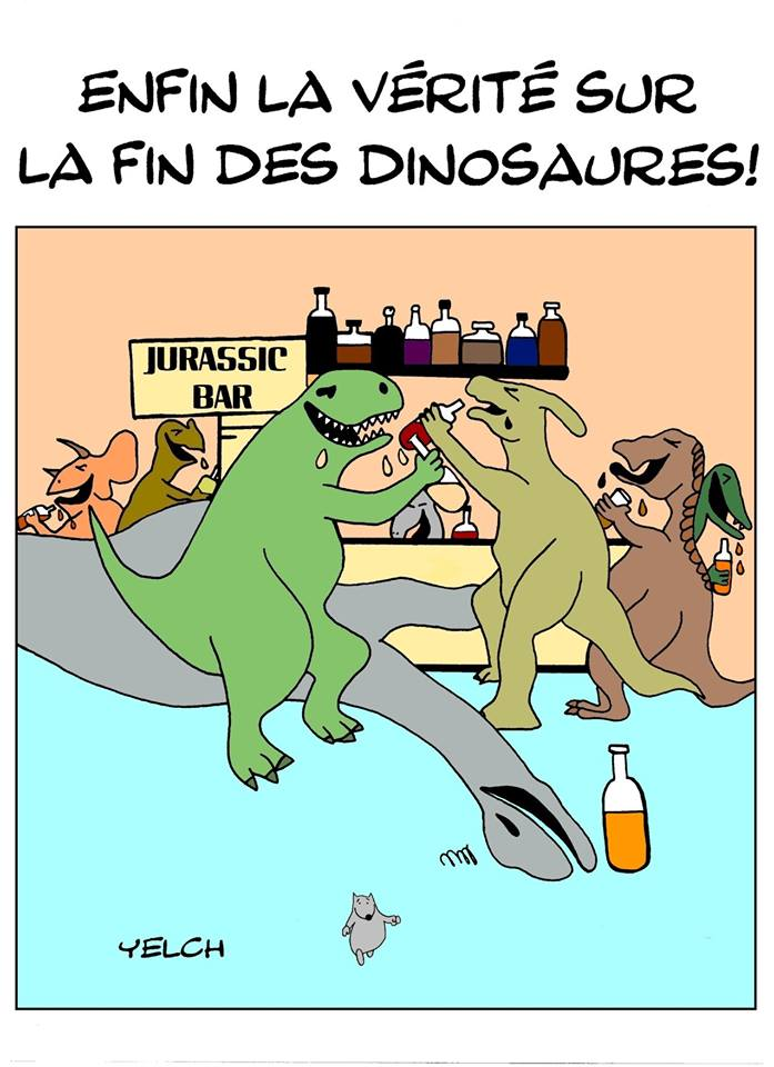 dessin de Yelch sur la disparition des dinosaures