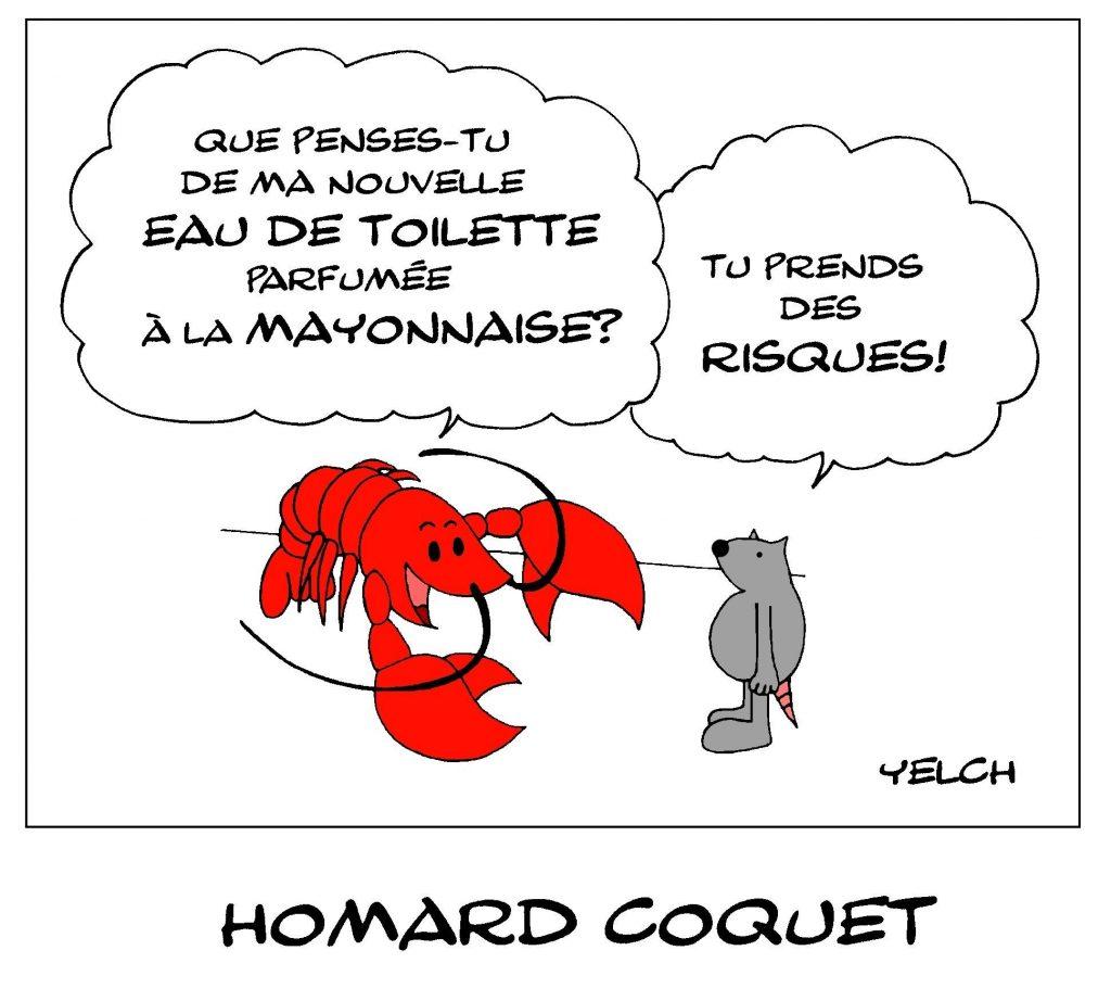dessin de Yelch sur les homards parfumés à la mayonnaise