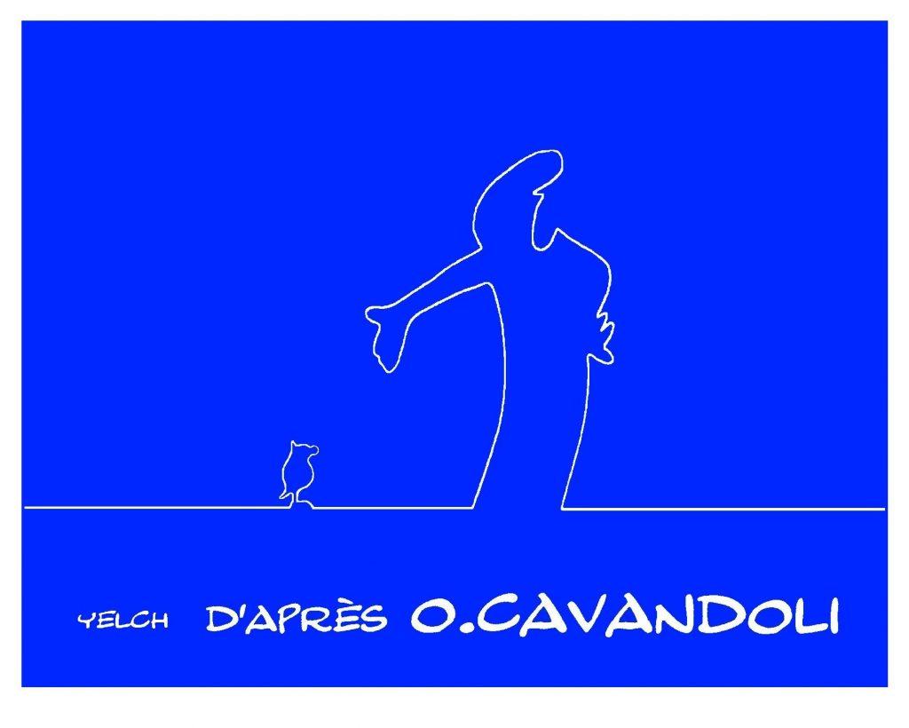 dessin de Yelch en hommage à La Linea d'Osvaldo Cavandoli