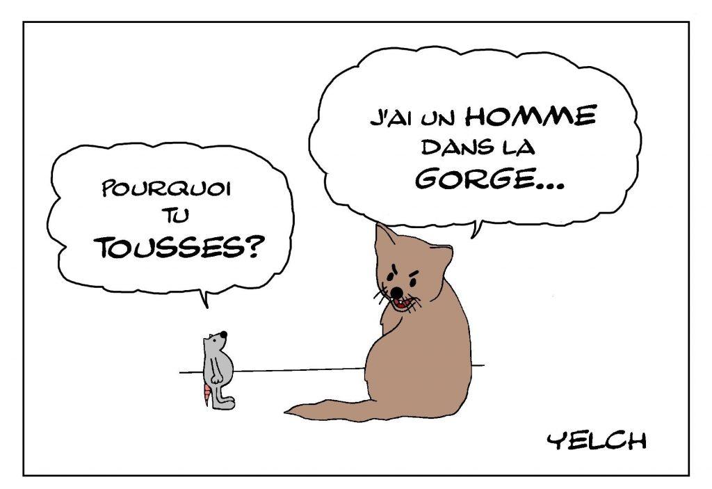 dessin de Yelch sur l'expression avoir un chat dans la gorge