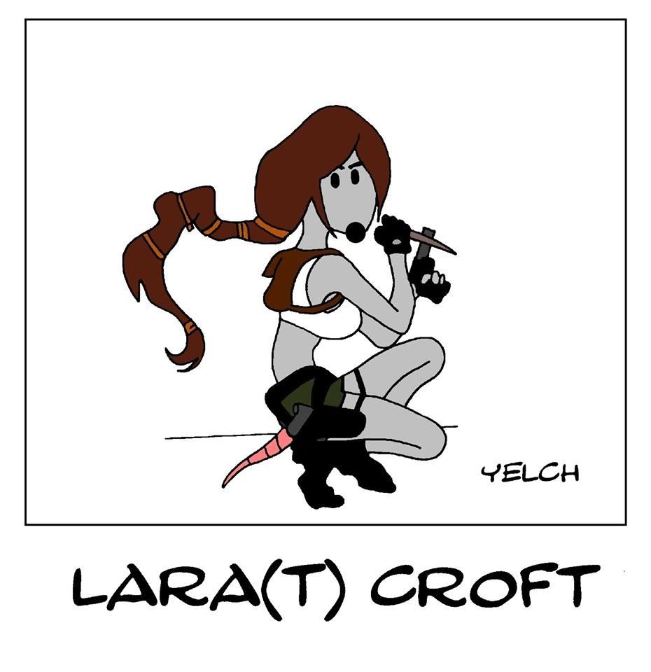 dessin de Yelch sur l'héroïne de jeux vidéo Lara Croft