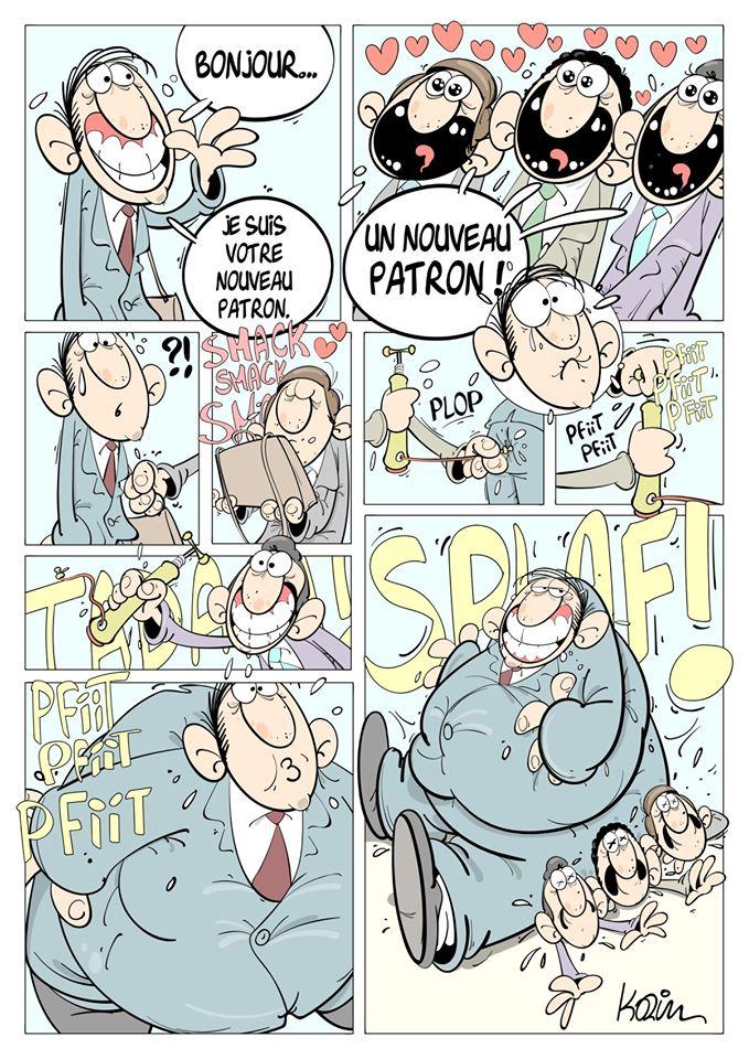 dessin d'actualité humoristique sur le phénomène du patronat
