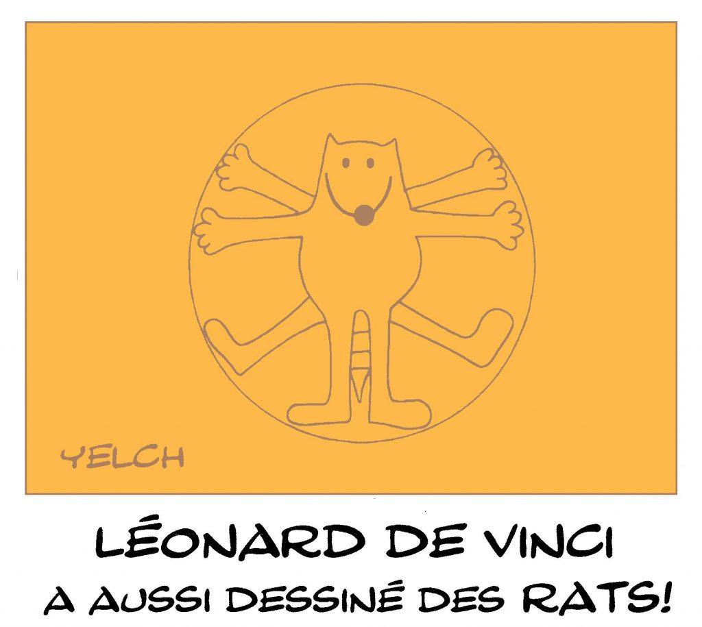 dessin de Yelch sur l'Homme de Vitruve de Léonard de Vinci