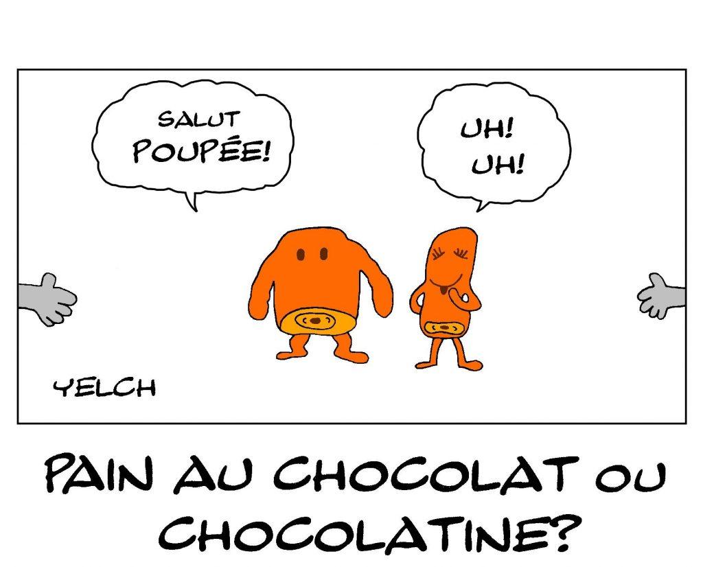 dessin de Yelch sur la controverse entre pain au chocolat et chocolatine