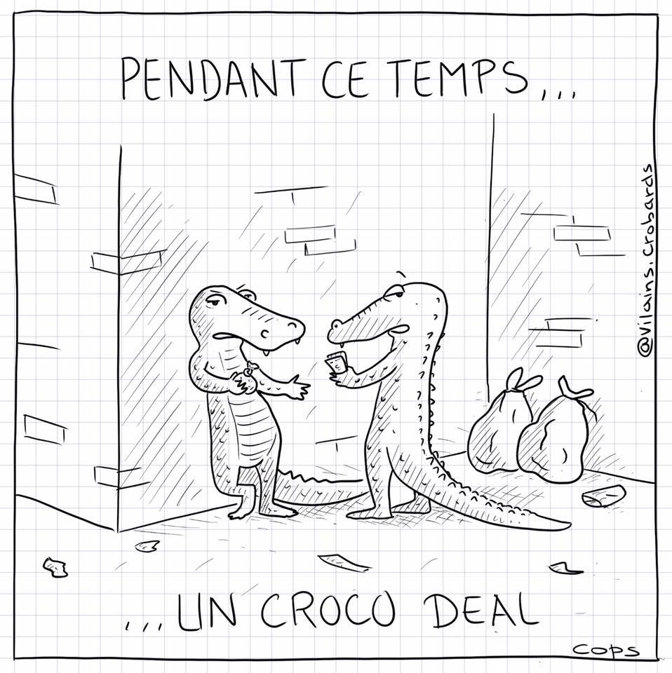 dessin de Cops sur une crocodile dealer