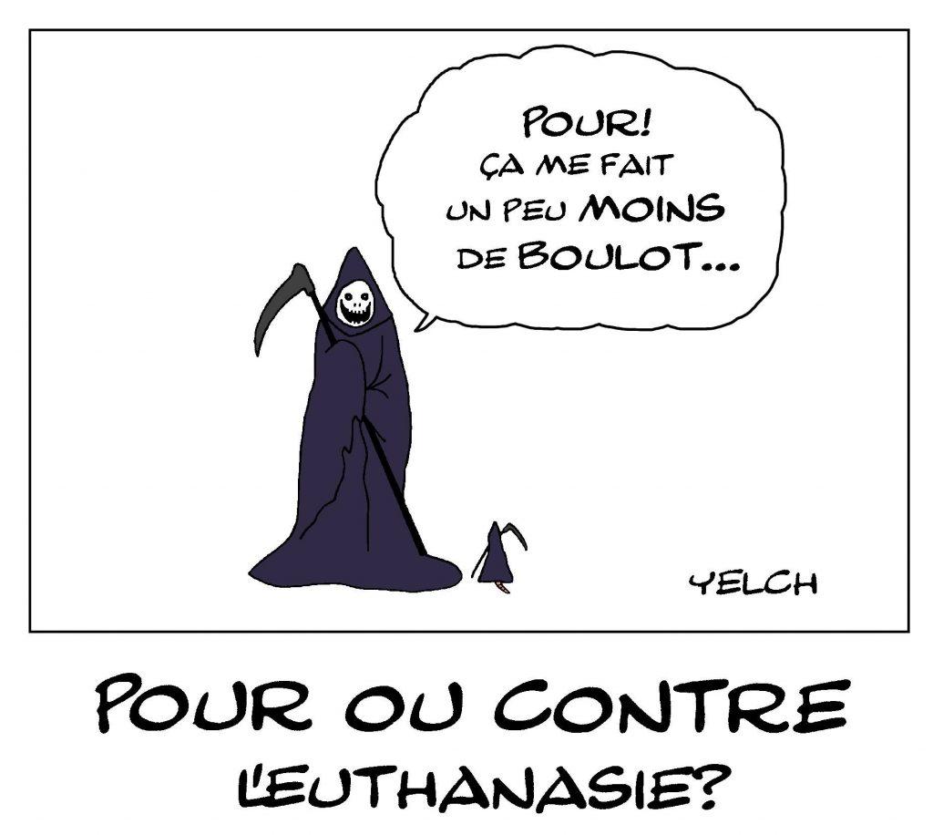 dessin de Yelch sur le débat concernant l'euthanasie