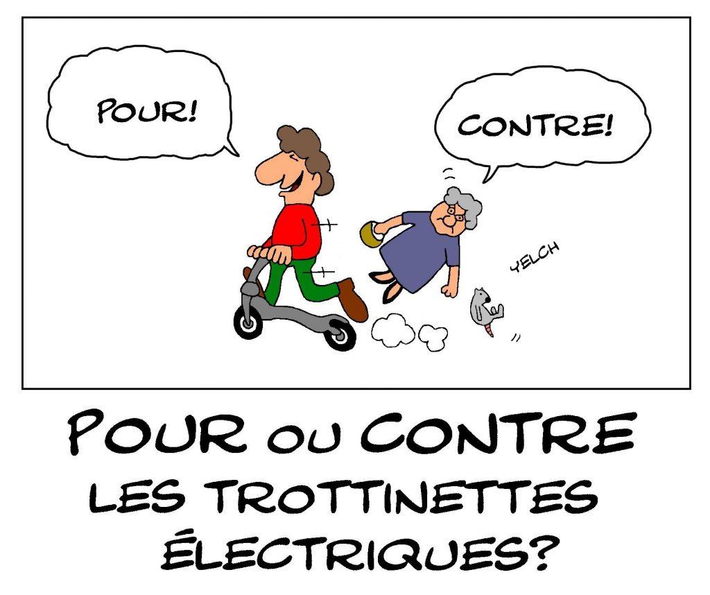 dessin de Yelch sur les trottinettes électriques