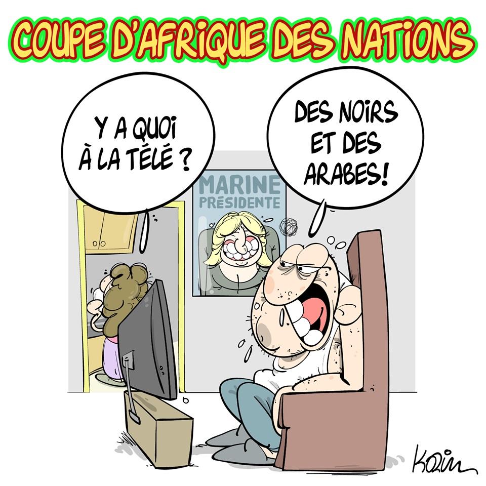 dessin d'actualité humoristique sur la Coupe d'Afrique des Nations et le Rassemblement National