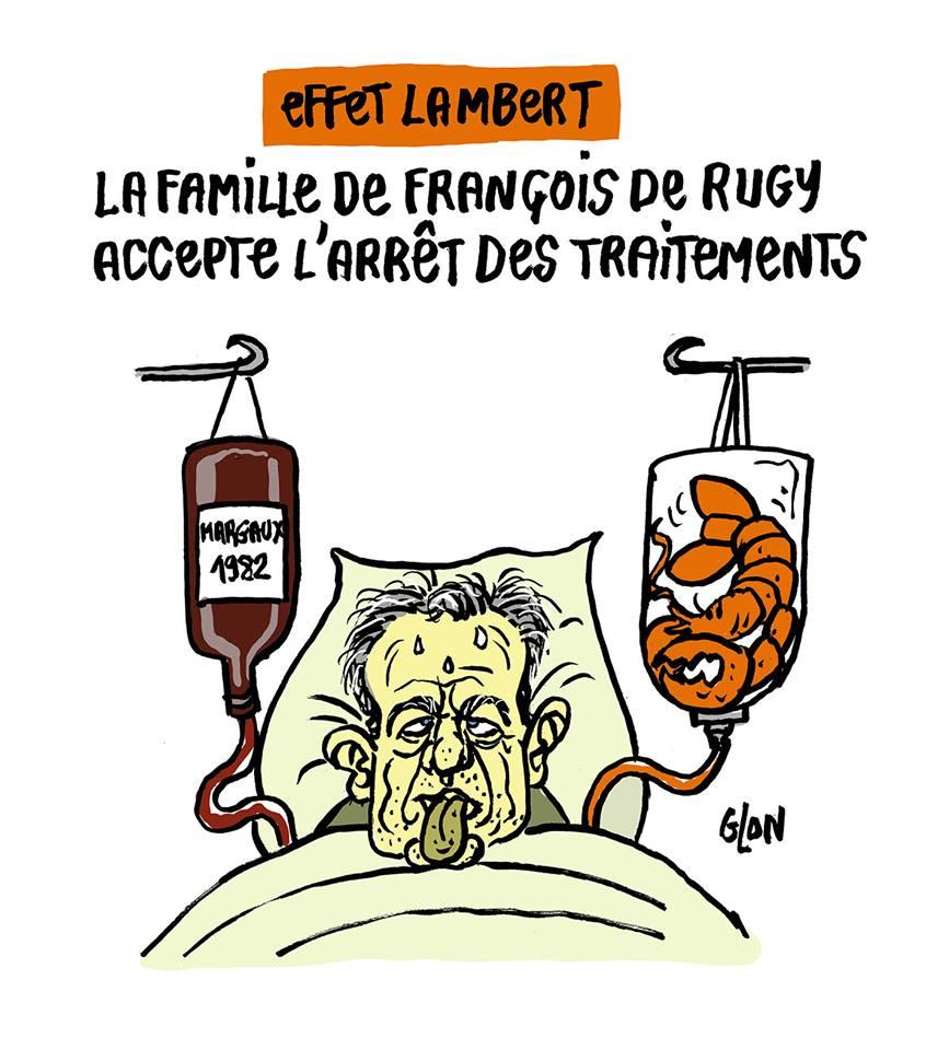 dessin d'actualité humoristique sur la mort de Vincent Lambert et le scandale des dîners de François de Rugy