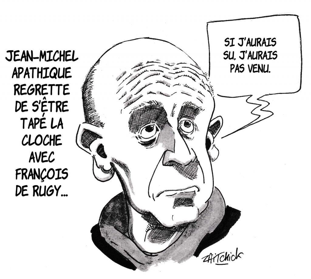 dessin humoristique de Zaïtchick sur les dîners fastueux de François de Rugy et la participation de Jean-Michel Apathie