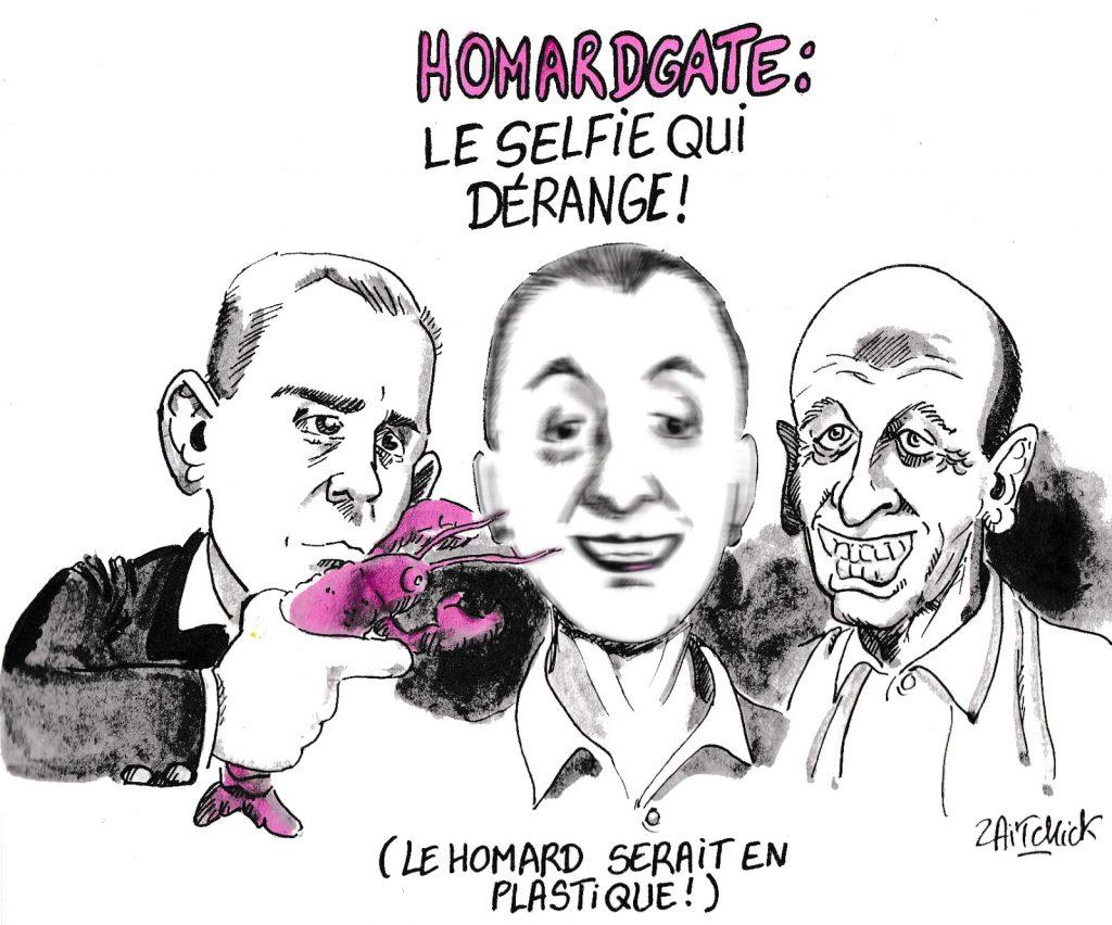 dessin humoristique de Zaïtchick sur les dîners fastueux de François de Rugy