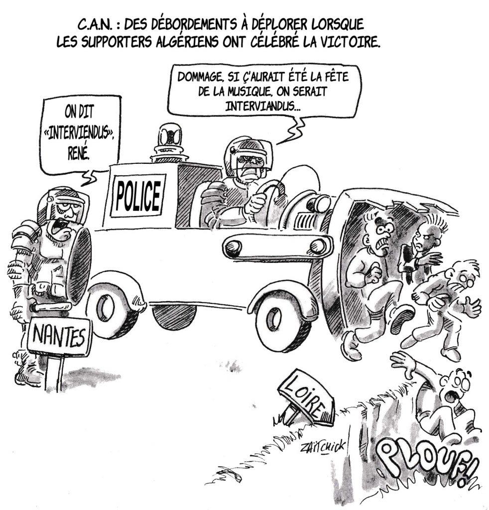 dessin humoristique de Zaïtchick sur les débordements des supporters algériens et l'intervention des forces de l'ordre lors de la fête de la musique à Nantes