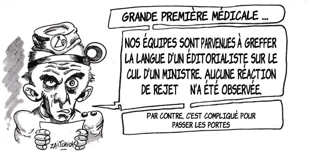 dessin humoristique de Zaïtchick sur la liberté de la presse et les éditorialistes vendus aux politiques