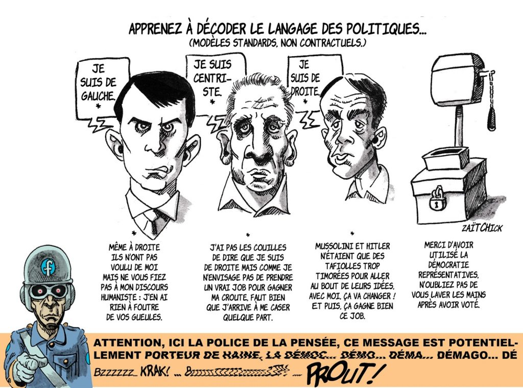 dessin humoristique de Zaïtchick sur le langage des hommes politiques